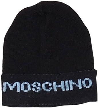 96c6aec2953 New Men s Black Moschino 100% Wool Beanie Hat One Size  Amazon.co.uk   Clothing
