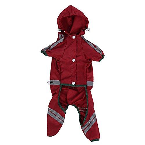 Fdit Pet Dog Raincoat Cat Dog Waterproof Jacket Hood Rain Coat Reflective Jumpsuit Apparel for Small Medium Dogs(XL)