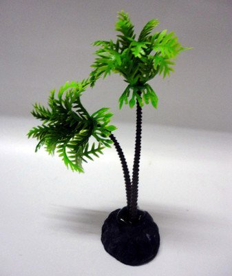 Kathy Mall 2 PCS Jardin Plastic Palm Tree Plant Underwater Aquarium Ornament, 3.75-inch