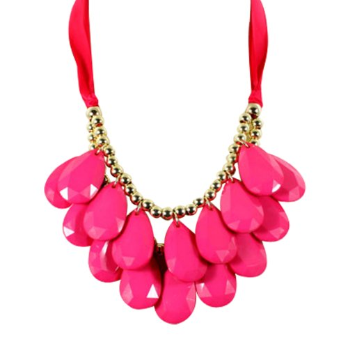 Wrapables Acrylic Teardrop Necklace Fuchsia