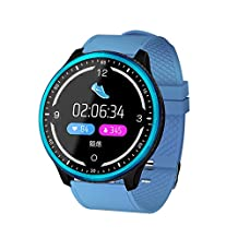 Smart Watch Fit for Samsung Note 9/S8/S9 Plus,elecfan Touch Control Watch with Heart Rate Monitor Smart Fitness Tracker Sport Barcelet with Blood Pressure/Oxygen/Sleep Monitor for Women Men,Blue