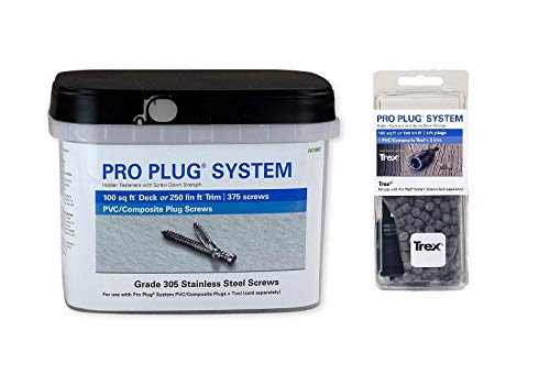 - Pro Plug System for Trex Transcend Gravel Path Decking, Combo Kit, 375 Plugs and 375 Stainless Steel Screws and PVC Tool for 100 sq ft