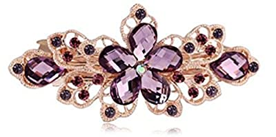 ZOONAI Women Flower Rhinestone Hair Clip Barrette Hairpin Headwear Accessories