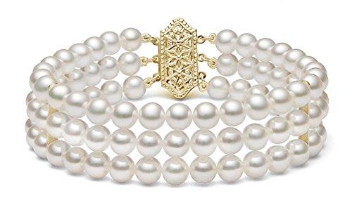 14k Yellow Gold Triple Strand White Japanese Akoya Cultured Pearl Bracelet (5-5.5mm), 7