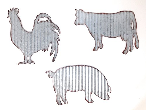 Cow Pig Rooster Galvanized Metal Farmhouse Wall Art Set