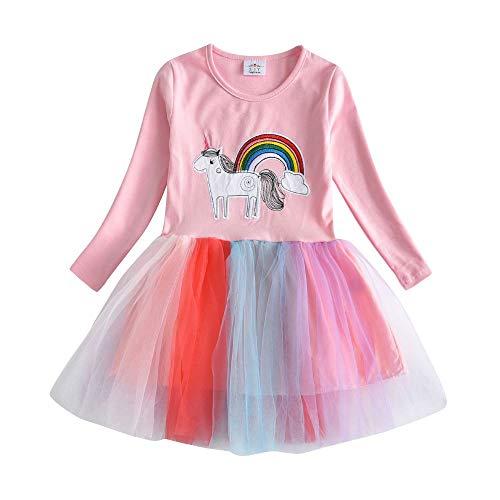 VIKITA Toddler Girl Horse Dress Winter Long Sleeve Tutu Party Dresses for Girls 3-7 Years, Knee-Length (LH4571, ()