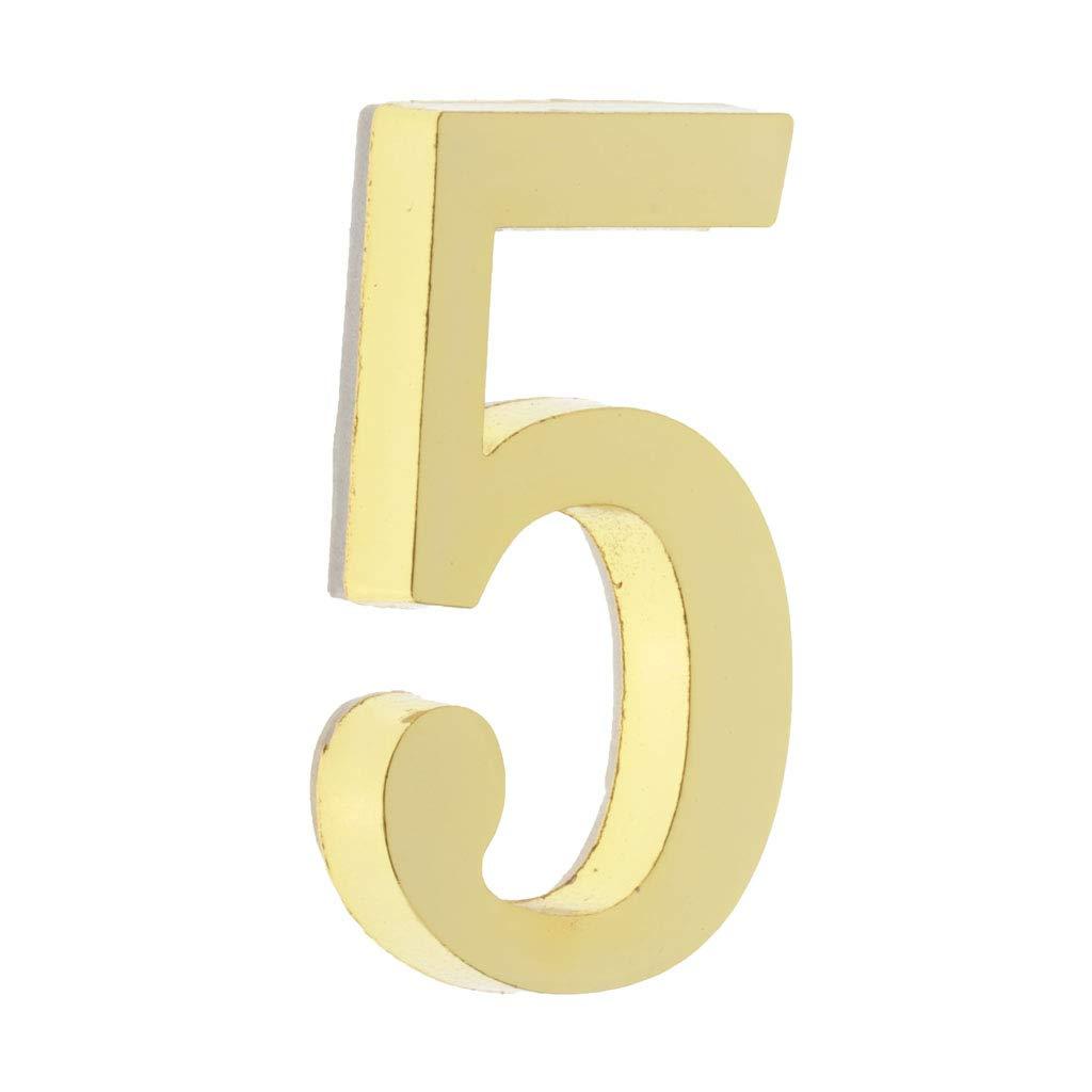 #5 IPOTCH Placa de N/úmero de D/ígitos Se/ñal de Puerta Autoadhesiva Dorada Signo de Vivienda para Hogar Jard/ín