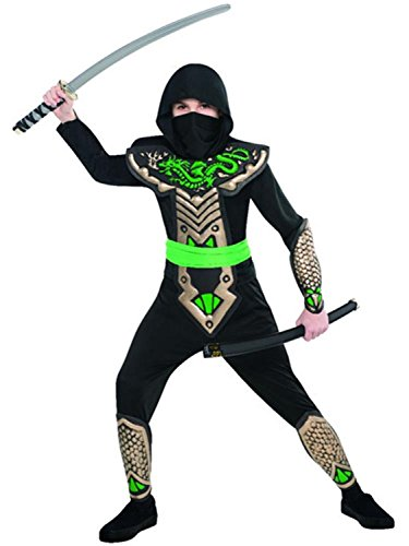 Boys Black Green Dragon Ninja Samurai Japanese Fighter Around The World International Warrior Halloween Carnival Fancy Dress Costume 4-10yrs (4-6 Years) -