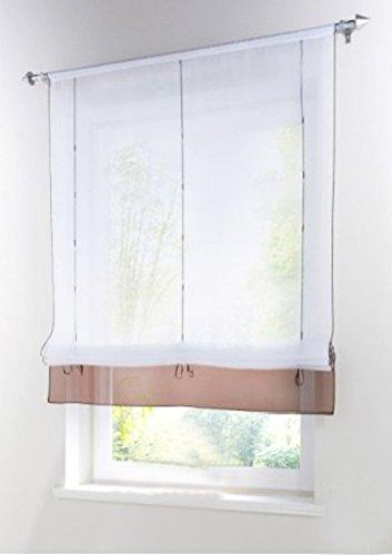 (LivebyCare 1pcs Solid Roman Shades Voile Ribbon Adjustable Tab Top Rod Pocket Balcony Window Curtain Panels for Family Room Decor Decorative)