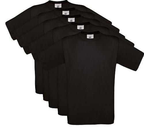 5er PACK T-Shirt mit kurzem Ärmel, Rundhalsbund. T-Shirt aus 100% ringgesponnener Baumwolle (XL, schwarz)