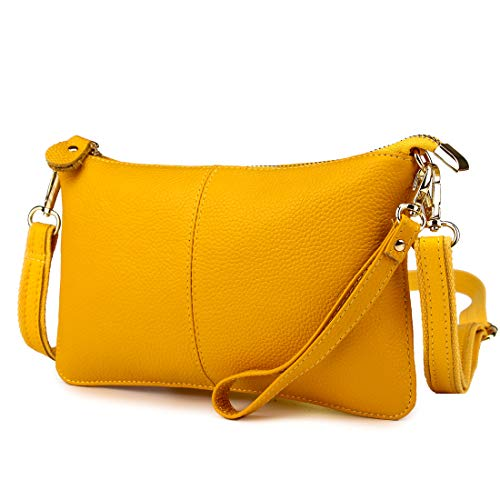Artwell Women Genuine Leather Clutch Handbag Fashion Wristlet Purse Envelop Crossbody Shoulder Bag with Removable Long Strap for Party Wedding Shopping (Yellow)