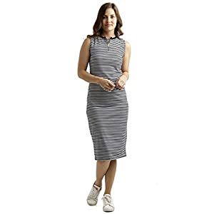 Miss Chase Women's Comfortable Round Neck Sleeveless Striped Midi Bodycon Dress with Zipper