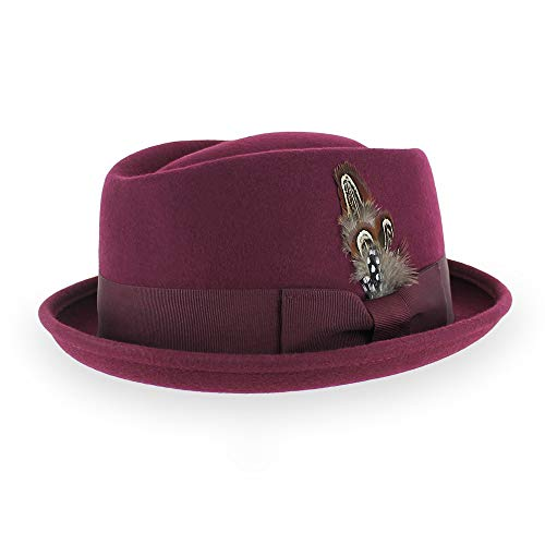 Belfry Crushable Porkpie Fedora Hat Men's Vintage Style 100% Pure Wool in Black Brown Grey Navy Pecan and Striped Band (Medium, Burgundy) -