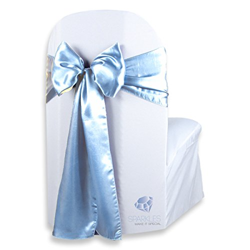 Sparkles Make It Special 200 pcs Satin Chair Cover Bow Sash - Light Blue - Wedding Party Banquet Reception - 28 Colors Available