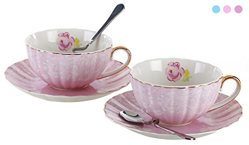 Jusalpha Porcelain Tea Cup and Saucer Coffee Cup Set with Saucer and Spoon FD-TCS04 (Set of 2, Pink)