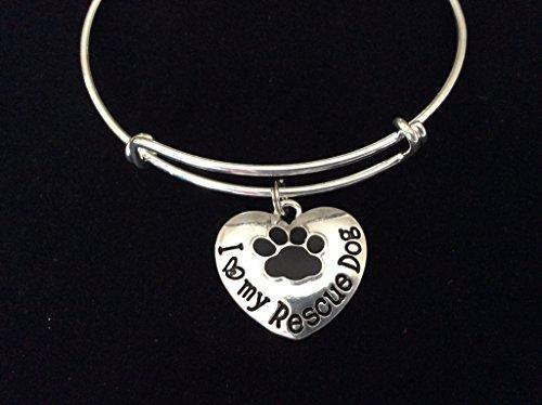 Paw Print Heart Charm Silver Expandable Bracelet ()