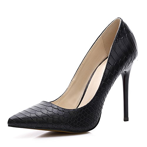 uBeauty Women's High Heel Court Shoes Snakeskin Pumps Mesh Pointed Toe Sandals Colorful, 12cm,16cm,10cm Snakeskin Black Heel 12cm