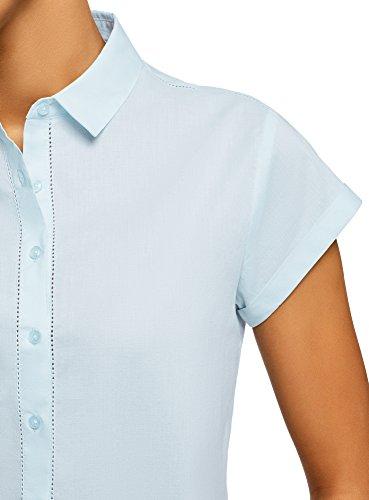 oodji Ultra Women's Short Sleeve Cotton Shirt with Turn-Ups, Blue, 2 by oodji (Image #4)