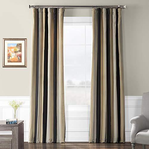 (Half Price Drapes PTSCH-32012-96 Faux Silk Taffeta Stripe Curtain, Sake)