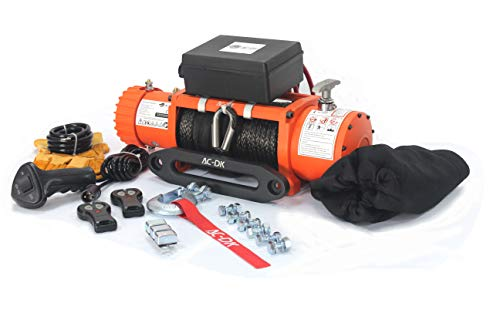 Winches 12v Electric Ac - AC-DK 12500lbs Electric Winch Water Proof IP67 Recovery Winch 12V DC Orange Color Come with Overload Protection, Winch Dust Cover and 2 Wireless Remotes (12500lbs with Synthetic Rope)