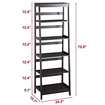 Topeakmart Set of 2 5-Tier Bookshelf Free Standing Ladder Shelf with Strong Frame, Espresso 2