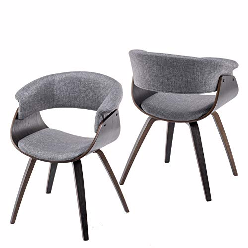 YEEFY Modern Dining Chairs Upholstered Bent Wood Dining Chairs Set of 2 (Gray)