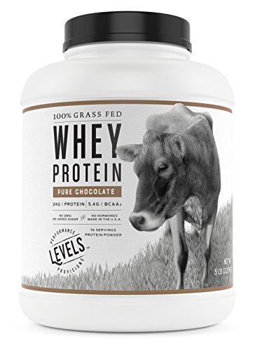 Levels 100% Grass Fed Whey Protein, No GMOs, Pure Chocolate, 5LB (Best Natural Whey Protein)