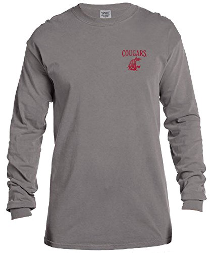 NCAA Washington State Cougars Vintage Poster Comfort Color Long Sleeve T-Shirt, Large,Grey (State University Jersey Washington)