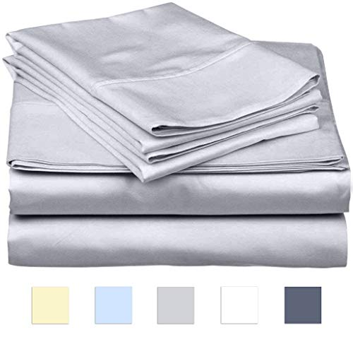 SanCozy 400 Thread Count Sheet Set, 4 Piece Set, Cotton, King Size,Light Grey,Sateen Weave Bedsheet, Breathable, Fits up to 18 inches deep mattresses ()