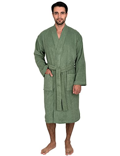 TowelSelections Men's Robe, Turkish Cotton Terry Kimono Bathrobe Medium/Large Loden Frost (Terry Shawl Cloth)