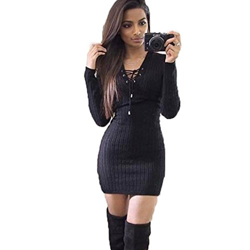 BodyCon Sweater Dress Women,Hemlock Ladies Slim Dress Long Sleeve Short Party Dress (XL, Black)