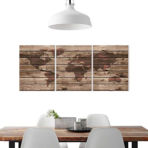 nting Frameless W16 x H32/3P, Posters Wall Decor GiftRustic World Map Decor World Atlas Reflection on Horizontal Lined Up Oak Region Space Theme Brown. ()