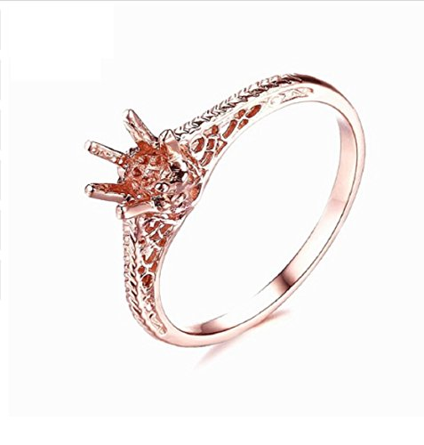 - GOWE ROUND CUT 4-5MM SOLID 14K ROSE GOLD SOLITAIRE ANTIQUE SEMI MOUNT ART DECO VINTAGE RING SETTING FINE JEWELRY