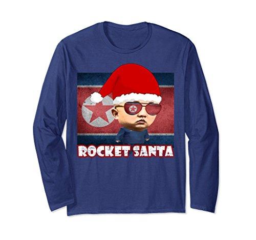 North Korea Halloween Costume (Unisex Rocket Santa Man North Korea Kim Jong-Un Christmas T-Shirt Small Navy)
