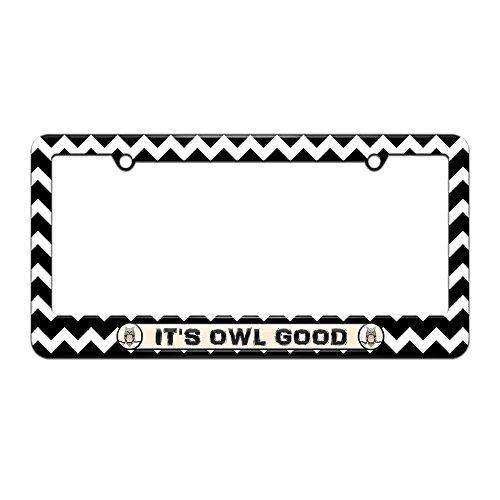 (It's Owl Good - License Plate Tag Frame - Black Chevrons Design)