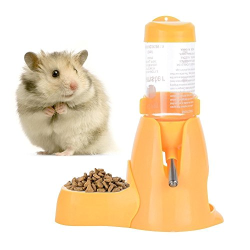 (Pet Automatic Water Bottle,Pet Drinking Bottle with Food Container Base Hut for Hamsters Rats Guinea-Pigs Ferrets Rabbits Small Animals Hanging Water Feeding Bottles Auto Dispenser(Yellow, 2.8oz))