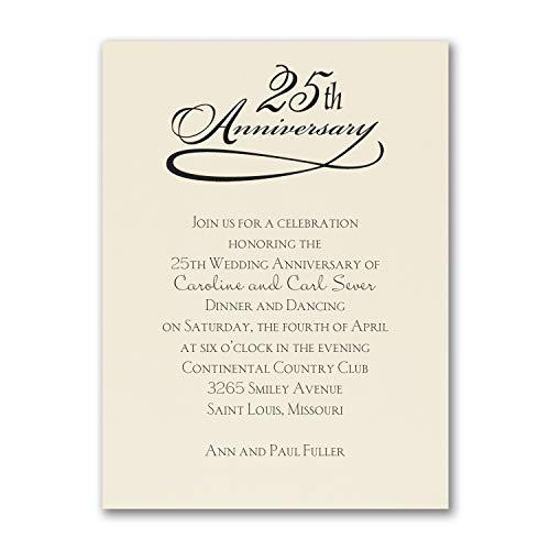 950pk 25 Years Celebration - Invitation - Ecru-Anniversary Invitations 25 Year Anniversary Invitations