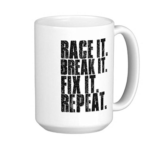Race Break Fix It Classic Street Bike Extreme Sports Athlete Motorcycle Seat Helmet -11-oz Coffee Mug Cup White Ceramic with Large Handle is Perfect Gift Idea For Dad, Father Day, Brother, Son, Friend (Primo Seat Bmx)