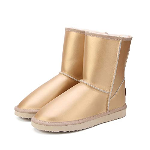 - Women Genuine Cowhide Leather Snow Boots Snow Boots Warm Winter Boots Women Boots,Sand,5