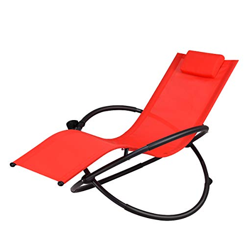Goplus Outdoor Orbital Lounger Zero Gravity Patio Chaise Foldable Rocking Chair w/Removable Pillow & Cup Holder Portable Chair for Camping