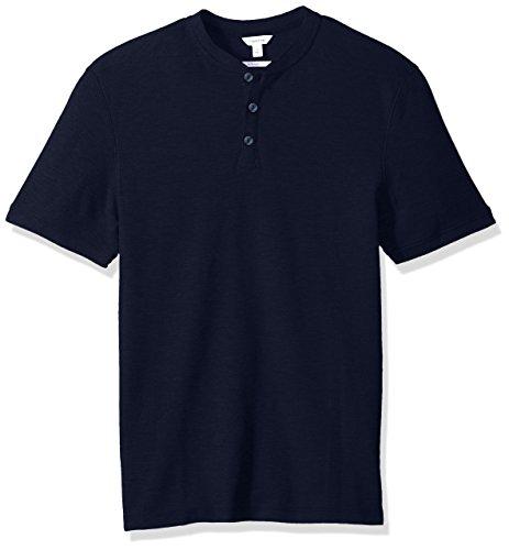 Calvin Klein Men's Short Sleeve Bomber Collar Pique Polo, Cadet Navy, (Calvin Collar)