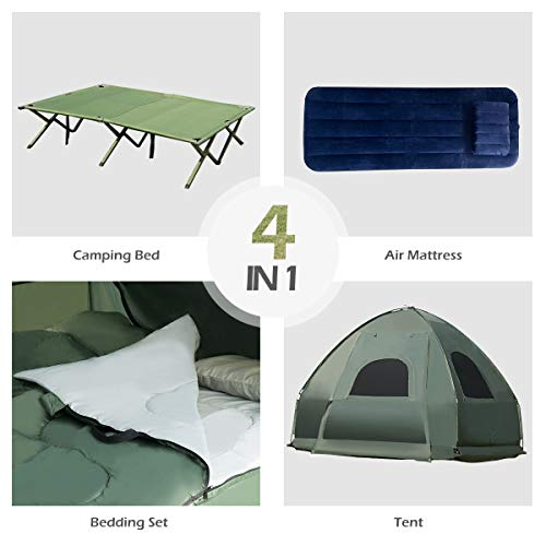 Tangkula 1-Person Tent Cot, Foldable Camping Tent with Air Mattress and Sleeping Bag, Elevated Camping Tent with Carry Bag, Portable Camping Tent Cot for Outdoor Hiking, Camping & Picnic