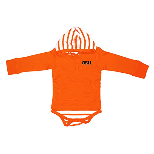 Two Feet Ahead NCAA Oregon State Beavers Children Unisex Stripe Hooded Creeper,12Mo,Orange (Orange Creeper Embroidered)