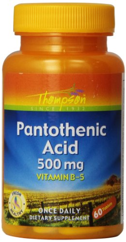 Thompson Pantothenic Acid Tablets, 500 Mg, 60 Count