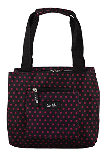 """Nicole Miller of New York Insulated Lunch Cooler-Black/Pink Polka Dots 11"""" Lunch Tote"""