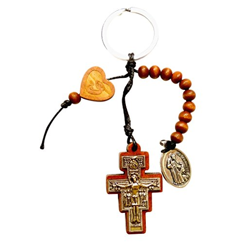 San Damiano Cross Keychain and Rosary $ Free Blessed Silver Oxidized Medal of St Francis & St Anthony -