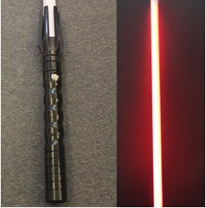 Aluminum Lightsaber with Sound – Extremely Durable Lightsaber with Sound, Aluminum Hilt, Black or Silver Finish, Rechargeable, Be Your Favorite Star Wars Character (Black Anidized Red Blade) ()