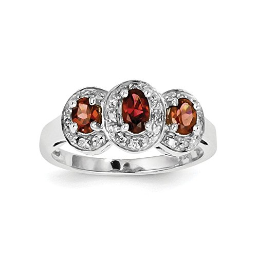 (925 Sterling Silver Rhodium-Plated Garnet and Diamond 3 Stone Ring Size 7)