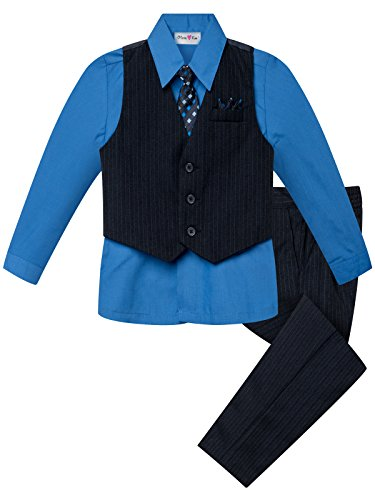 OLIVIA KOO Boys Colored Shirt Pinstripe 4 Piece Pinstriped Vest Set Size Infant-Boy,Vivid Blue,7 ()