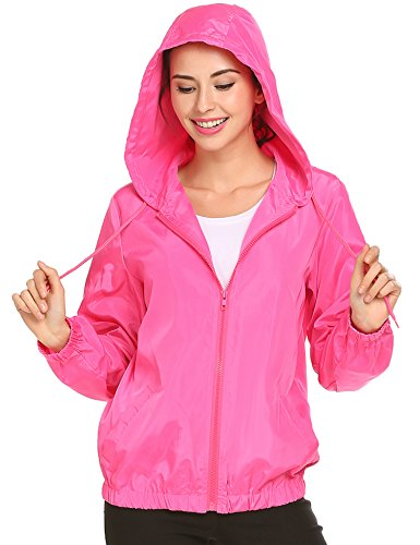 Easther Womens Outdoor Waterproof Lightweight Windbreaker Raincoat Hooded Rain - Breaker Womens